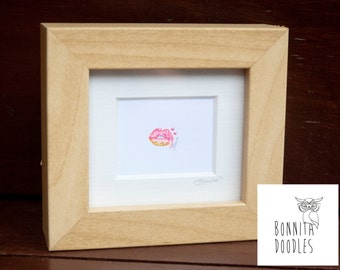 Tiny Donut Lips Framed original pencil drawing .5 inch!