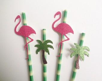 Flamingo, Palm Tree Bamboo Green Tropical Glitter Straws