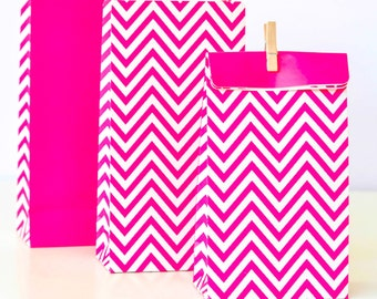 Party Bags | Pink Party Bags | Party Bags | Pink Chevron Bags | Paper Bags | Bachelorette | Favor Bags | Gift Bags | Birthday Party | Bags