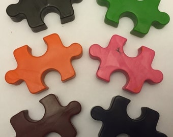 Puzzle Piece crayons * Set of 3 pieces * Perfect for Party Favors * Stocking Stuffers * Small Gifts