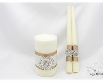 Candle Ceremony Set Of 3 Lace Wedding Unity Candle Set Ivory Champagne Candle Set Bridal Taper