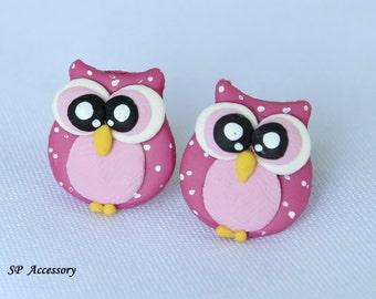 owl earrings, clay stud, clay earrings, earrings clay