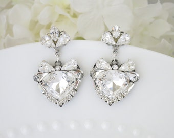 Swarovski rhinestone drop earring, Crystal post wedding earring, Unique statement bridal earring