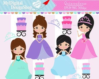 Quinceañeras Clipart, Vector EPS, PNG Image, Sweet Sixteen Digital, Princess, Cake, Crown, Dressed Up, Birthday Party, Girl Pink, Blue |C064