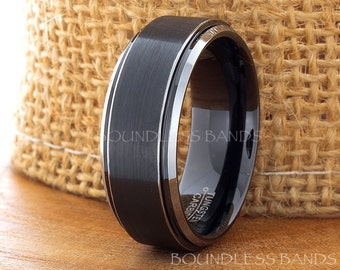 Black Tungsten Wedding Ring Flat 8mm Stepped Edges Satin Finished His Hers Free Custom Laser Engraving Two Tone Black White Anniversary Ring