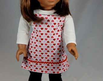 Hearts and Love apron and chef hat for your 18 inch or American Girl doll