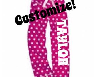 Girl's Personalized Pajama pants,  pajama Bottoms, personalized pajamas, flannel pajama pants