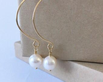 Pearl Earrings, White Pearl on 14K Gold Filled Long Dangle Earrings, Modern Freshwater Pearl Jewelry, June Birthday Gift