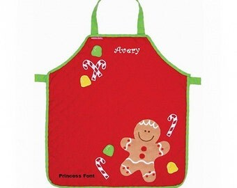 Personalized Gingerbread and Candy Canes Quilted Kids Apron