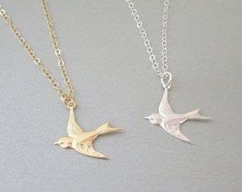 Bird necklace, Dove Necklace, Flying bird necklace in Sterling silver, Gold fill, Swallow Necklace, Bird lover Jewelry, Sparrow Necklace