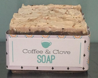 Coffee and Clove All Natural Soap with gentle exfoliating coffee grounds