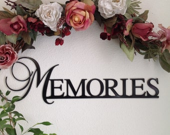 "Beautiful ""Memories"" lovely font, word art for wall. Perfect for grouping with family photos. Black, silver, gold."