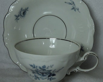 Johann Haviland Bavaria Blue Bouquet Platinum Teacup and saucer platinum trim