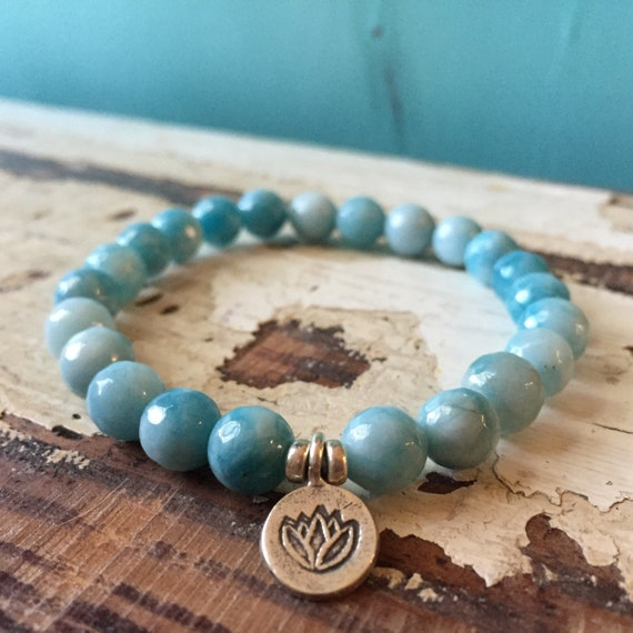 Stackable Mala Inspired Larimar + Hill Tribe Sterling Silver Lotus Spiritual Junkies Yoga and Meditation Bracelet