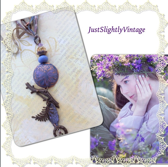 Woodland Whimsy...Etched Copper Necklace, Lavender, Natural Brass, Artisan Lampwork, Picasso Glass, Floral Butterfly, JustSlightlyVintage