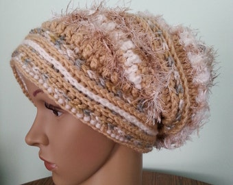Crochet Brown Slouchy Beanie- PATTERN