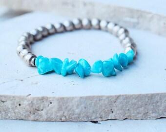 Turquoise bracelets,Boho stacking bracelet,gemstone bead bracelet,gemstone stacking bracelet,blue stretch bracelet,blue gemstone bracelet