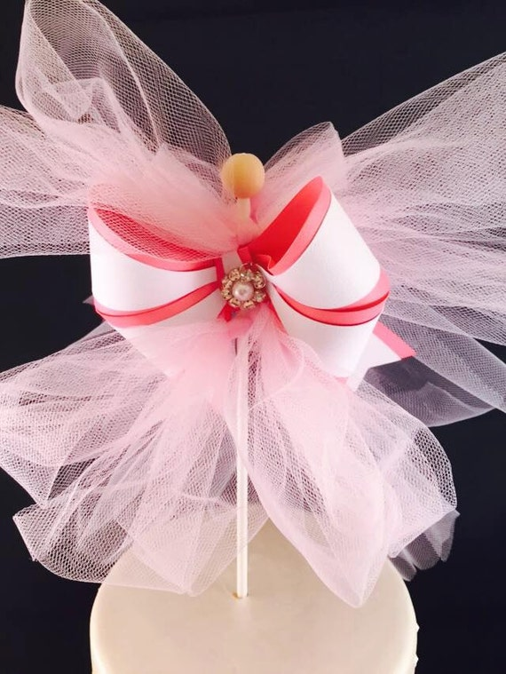 Bow centerpiece pick cake topper pink decorations