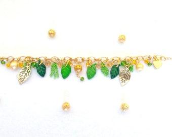 Golden and green leaves bracelet handmade polymer clay ~ spring
