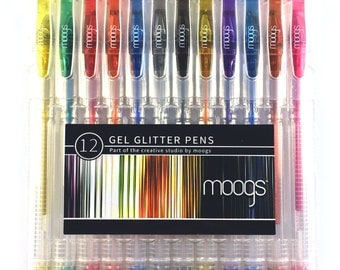 Moogs Smooth Gel Glitter Pens - 12 Colors with Pigment Based Ink