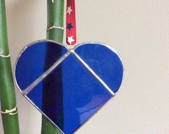 Stained Glass Blue Heart Sun Catcher   Ornament