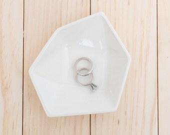 Large Geometric Ceramic Ring Dish - Individual - White
