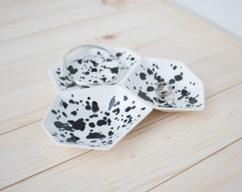Large Geometric Ring Dish set of 3 in Ink Spots.