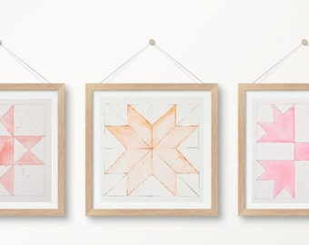 Set of 3, Quilt Watercolor Paintings, 8x8