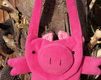 Pig Bag, Child's Bag, FleecyPig Bag
