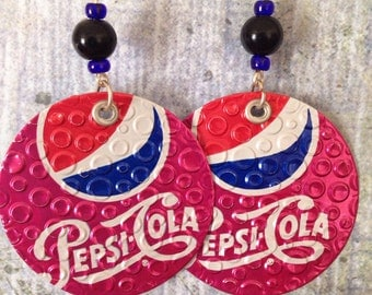 Up-Cycled Cherry Pepsi Earrings, soda can earrings