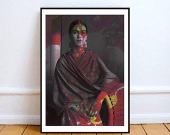 "Frida Kahlo print art, Frida portrait, mixed media collage art, Frida Kahlo artwork, boho wall art, Frida Kahlo poster - ""Spirit of art""."