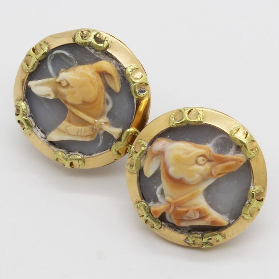 Antique French Cufflinks Carved Cameo Greyhound Dogs 18k Gold