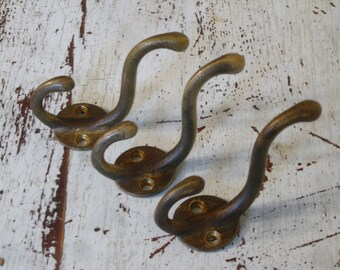 Brass Coat Hooks , Three Coat / Backpack Hooks