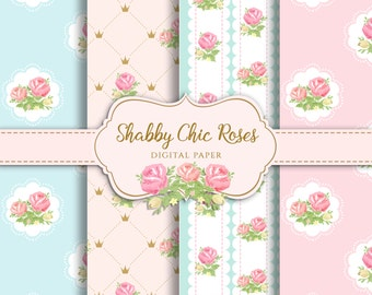 Shabby Chic Digital Paper, Shabby chic rose for scrapbooking, invites, cards, instant download