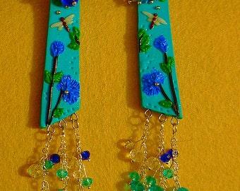 "Earrings ""Dragonflies and cornflowers"" summer light earrings"