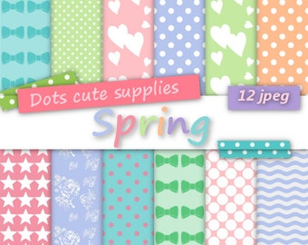 12 Digital SPRING PASTEL assorted digital papers,12 jpeg files,digital scrapbooking,colorful,roses,chevron pattern,bows,dots,stars, hearts