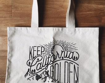 12oz. Natural Canvas Tote Bag - 'Keep California Golden'