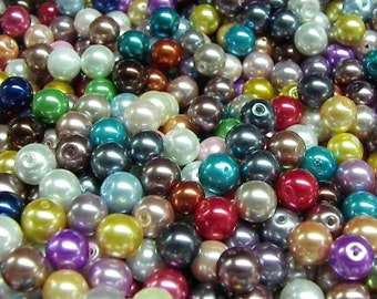 3000 Pearl multi-color 8 mm 1 mm hole glass beads
