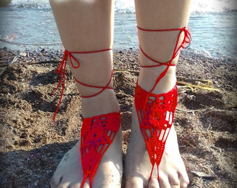 Red Barefoot Sandal, Crocheted flower Anklet, White Barefoot Sandal, Purple Lace Barefoot Sandal, Wedding, Barefoot Anklet, Foot Jewelry