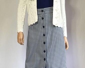 Vintage 70's Blue Checkered Maxi Skirt - Retro Long Navy Blue and White Gingham Skirt - 1970s Long Checked Maxi Skirt