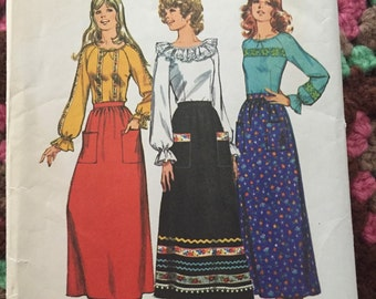 Vintage 70s Maxi Skirt & Gypsy Boho Blouse - Simplicity Pattern 9771 - 1970s A-Line Skirt and Hippie Shirt