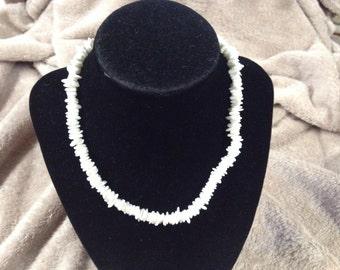 Vintage White Stone Beaded Necklace, 16'' Long