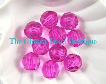 20mm transparent fuchsia faceted bead, 10 pieces