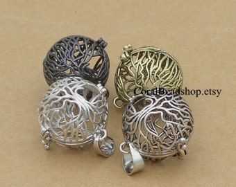 x0083-Mixed 4pcs Copper Tree of Life Charms Locket Pendant Essential Oil Diffuser Necklace Making