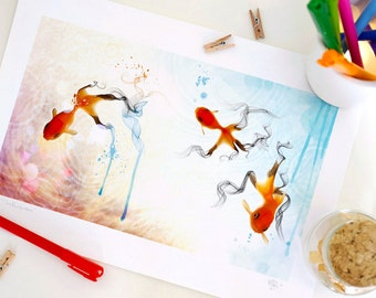 Special Edition Goldfish Print, Fantasy Art Print, Nursery decor, Home Decor - A4. 29.6 x 20.7 cm.