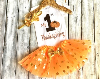 Baby girls 1st Thanksgiving outfit, girls first thanksgiving, brown, orange, gold, newborn 1st thanksgiving, girls thanksgiving outfit