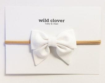 White Mini Sailor Baby Bow, Baby bows, baby headbands, sailor bow, bow clip, nylon headband, baby bow headband