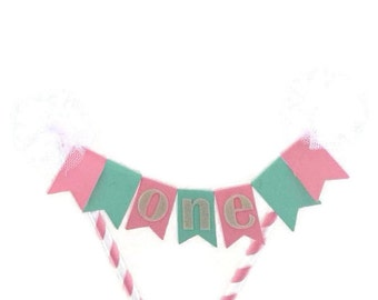 White,pink and mint first birthday flag cake bunting, cake topper, cake banner, birthday decorations, 1st birthday