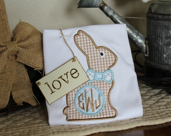 Boys Monogram Applique Bunny Shirt