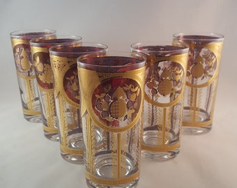 SALE - Cera Gold and Red Glass Set - Set of 6